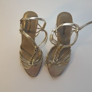 Light gold le chateau strappy sandal heel braided